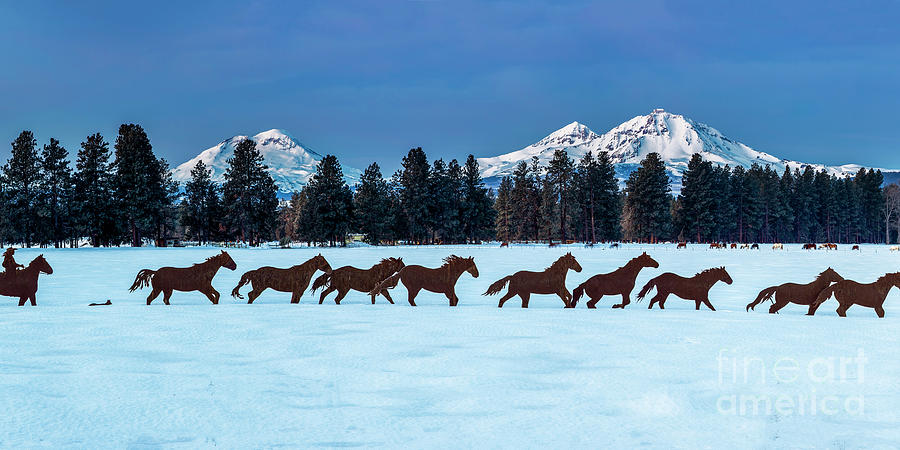 Sisters Horses And Mountains Photograph