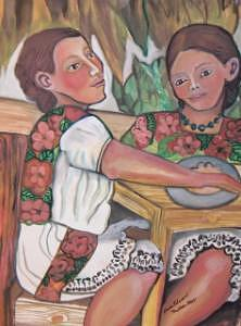 Figures Painting - Sisters In Yucatan by Ruth Olivar Millan