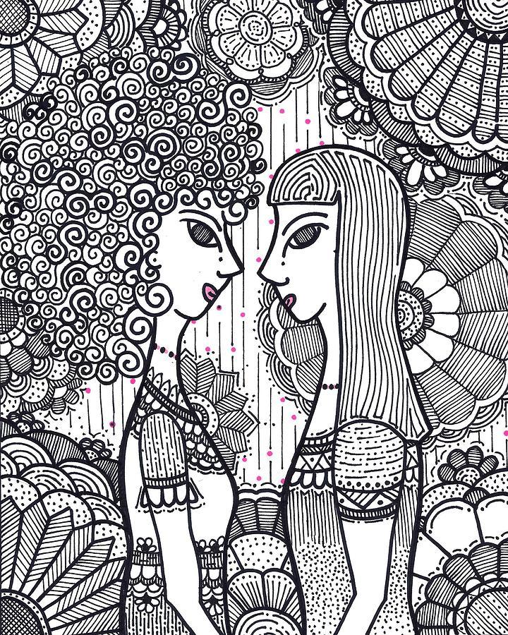 Caroline Drawing - Sisters - Ink by Caroline Sainis