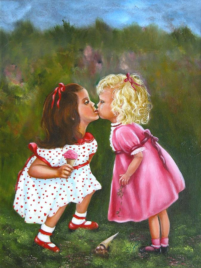 Child Painting - Sisters by Joni McPherson