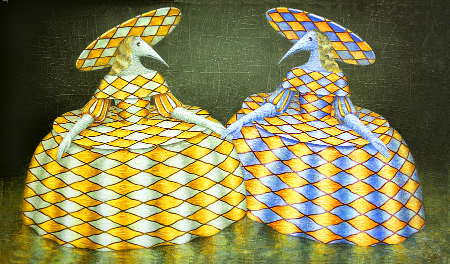 Hat Painting - Sisters by Lolita Bronzini