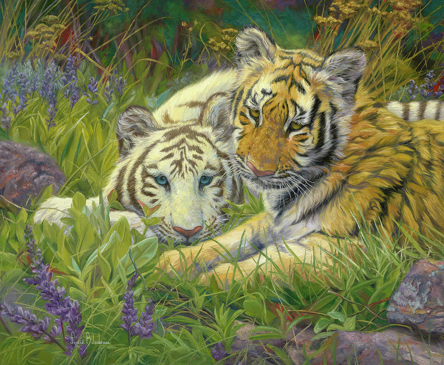 Tiger Painting - Sisters by Lucie Bilodeau