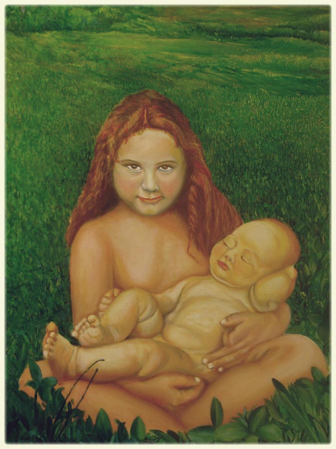 Sisters Of Mine Painting by Ibrahim Rahma