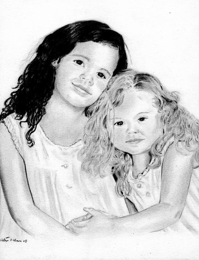 Portraits Drawing - Sisters by Peter Morris