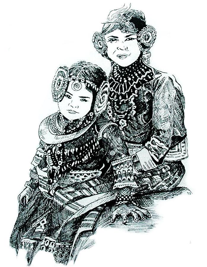 Child Drawing - Sisters by Ramneek Narang