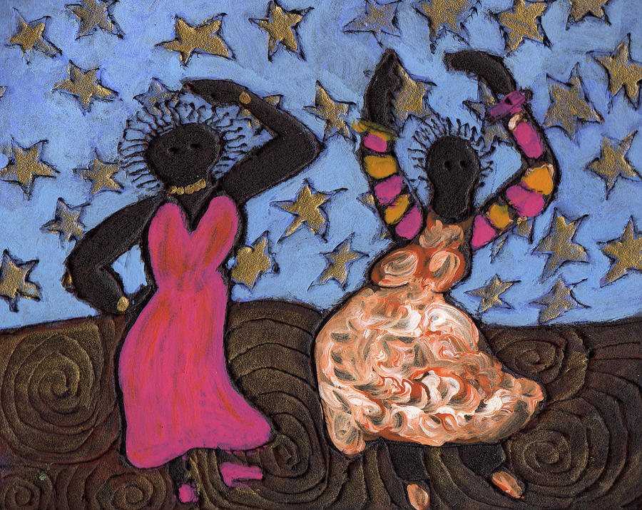 Ethnic Painting - Sisters Sarah Sue And Sally Mae Swinging The Night Away by Wayne Potrafka