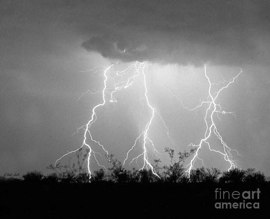 Lightning Photograph - Sisters-signed-#78 by J L Woody Wooden