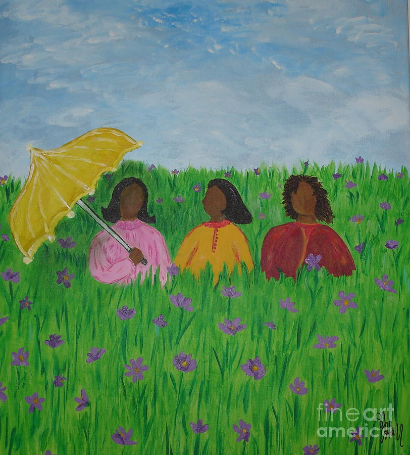 Sisters Painting - Sisters Talk by Sheila J Hall