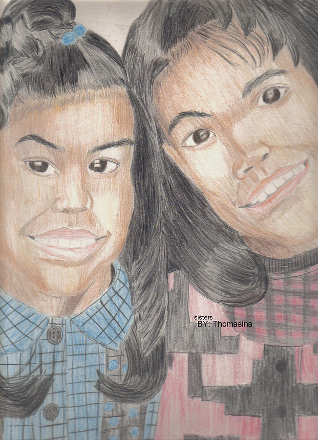 Portrait Drawing - Sisters by Thomasina Marks