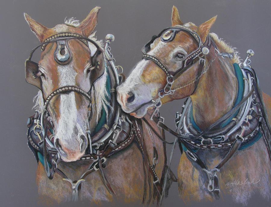 Draft Horses Pastel - Sisters Whisper by Carole Haslock
