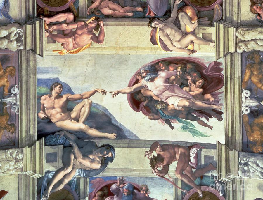 Sistine Painting - Sistine Chapel Ceiling Creation Of Adam by Michelangelo