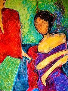 Lady Drawing - Sitiing Lady by Janice Webb