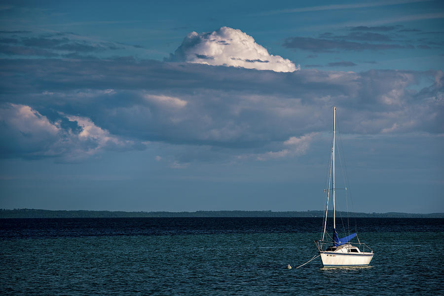 Anchored Photograph - Sittin by the Bay by Onyonet  Photo Studios