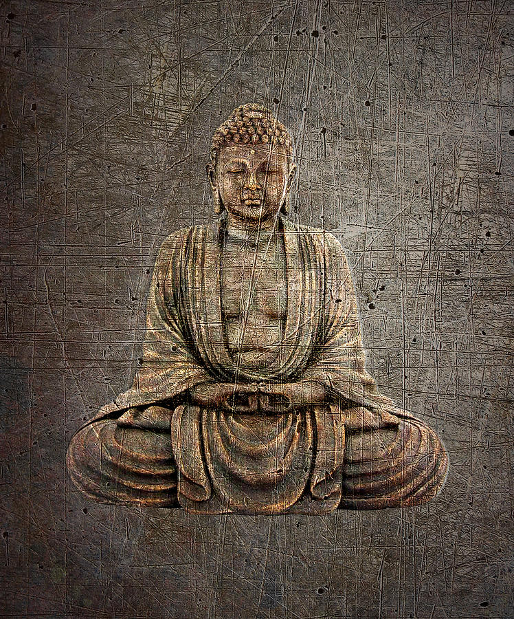 Sitting Buddha on Distressed Metal Background by Fred Bertheas