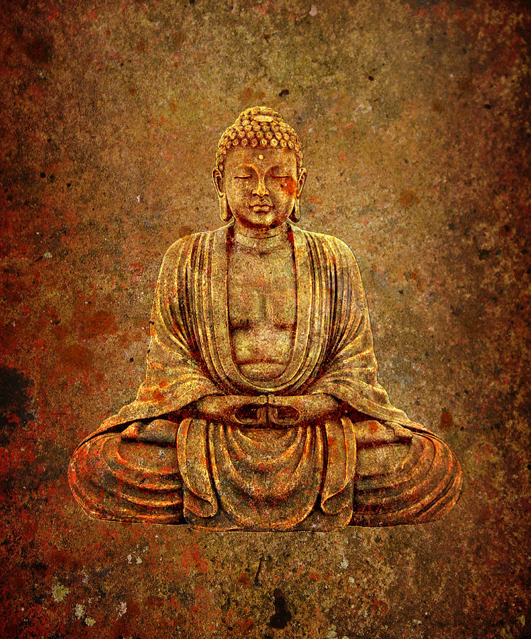 Sitting Buddha with Stone Background by Fred Bertheas