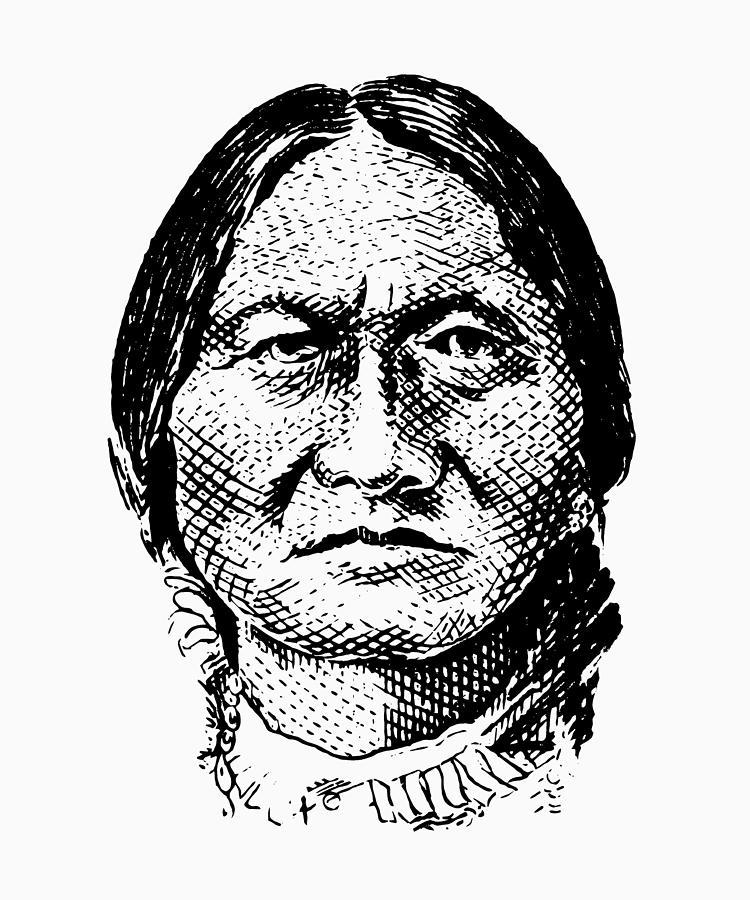 Sitting Bull Digital Art - Sitting Bull Graphic by War Is Hell Store