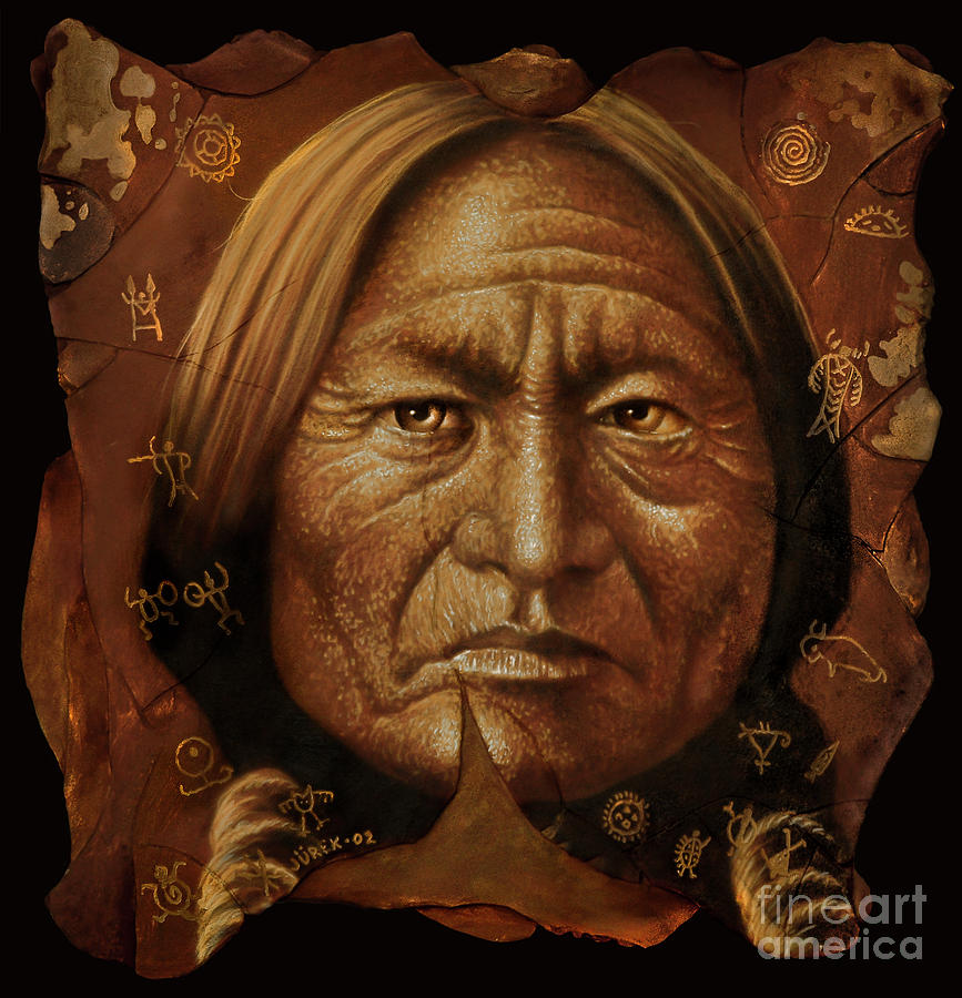 Sitting Bull Painting by Jurek Zamoyski
