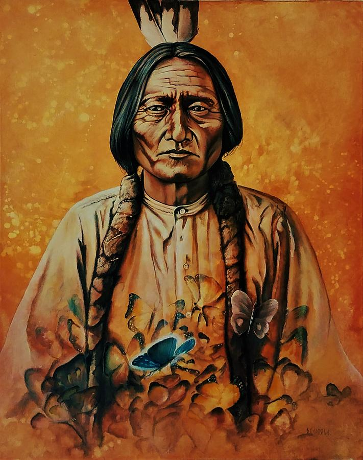 Sitting Bull Painting - Sitting Bull With Butterflies by DC Houle