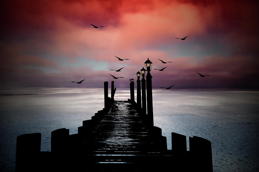 Sunset Photograph - Sitting On The Dock Of The Bay by Andrea Kollo