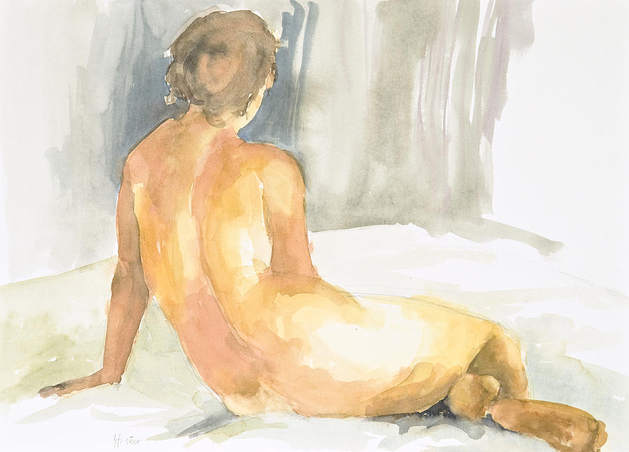 Nude Woman Painting - Sitting Figure by Eugenia Picado