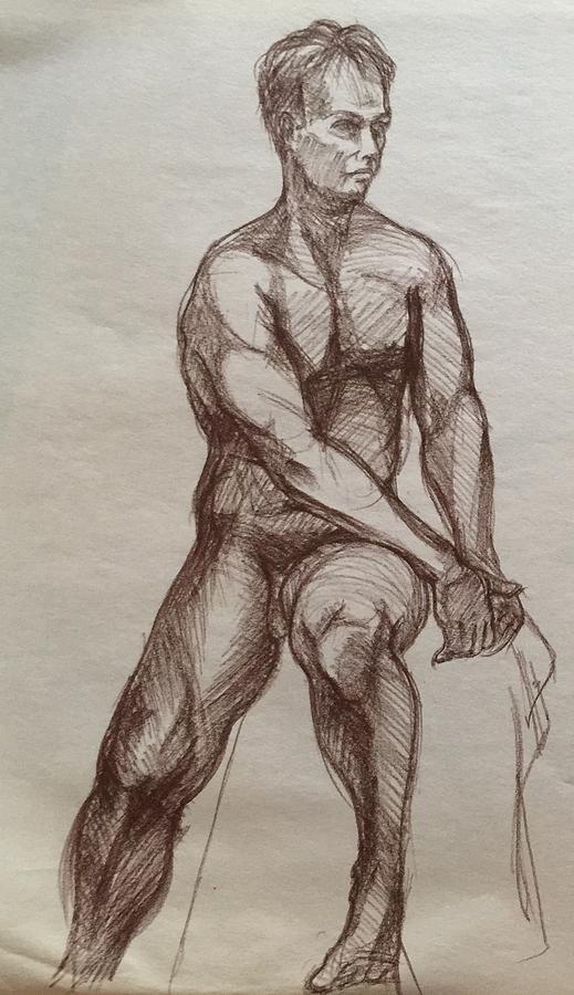 Sitting Male Model  Drawing by Anastasiya Baron