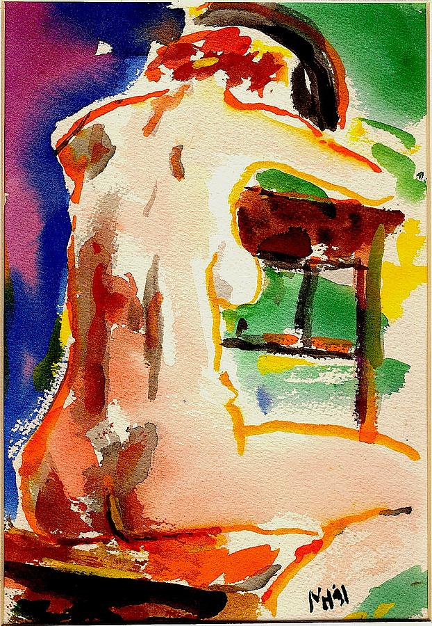 Nude Painting - Sitting Nude by Michael Hudak