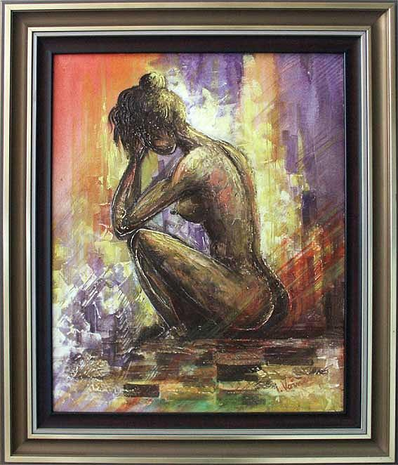 Abstract Painting - Sitting Nude by Voineagu  Ion