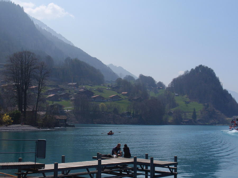 Swiss Lakes Digital Art - Sitting On The Dock by Ursula Wright