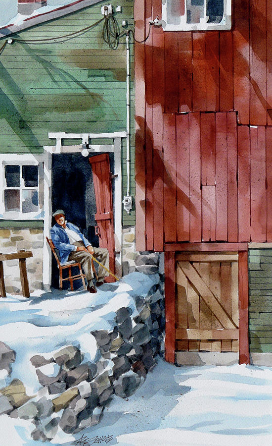 Sitting Out Winter Painting by Art Scholz