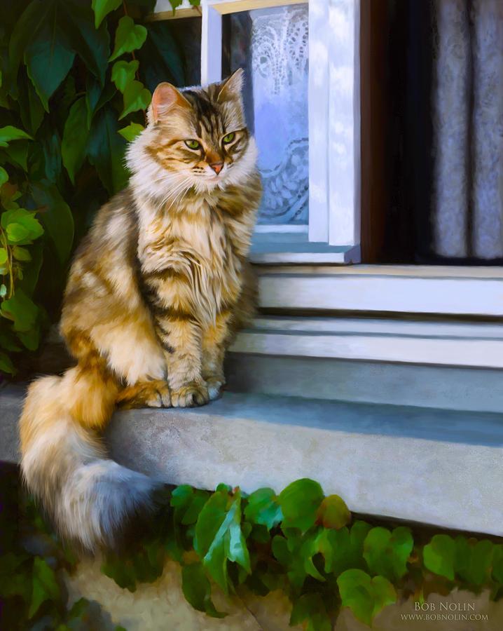 Cat Digital Art - Sitting Pretty by Bob Nolin
