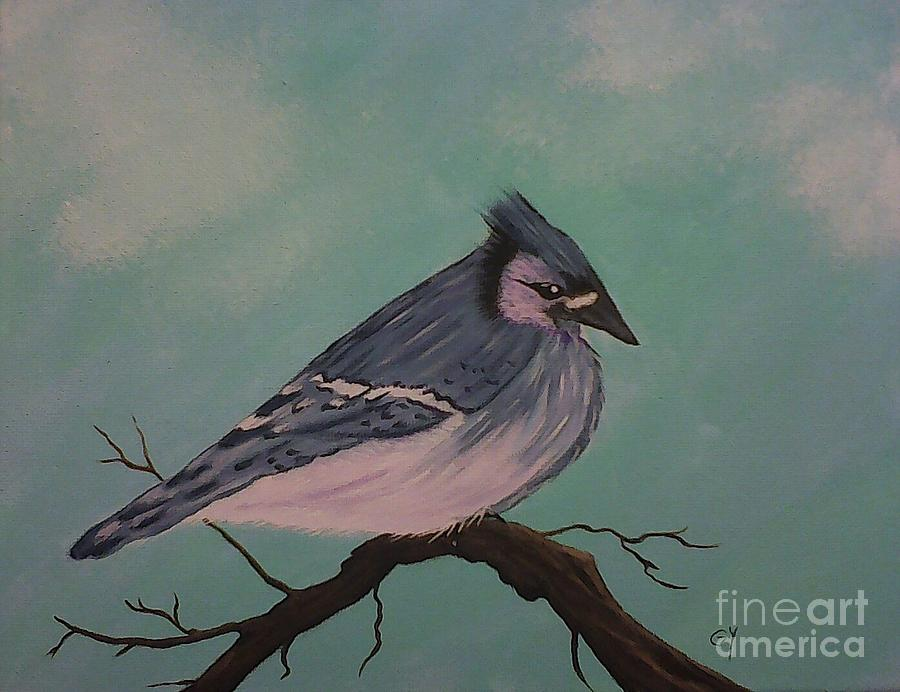 Blue Bird Painting - Sitting Pretty by Ginny Youngblood