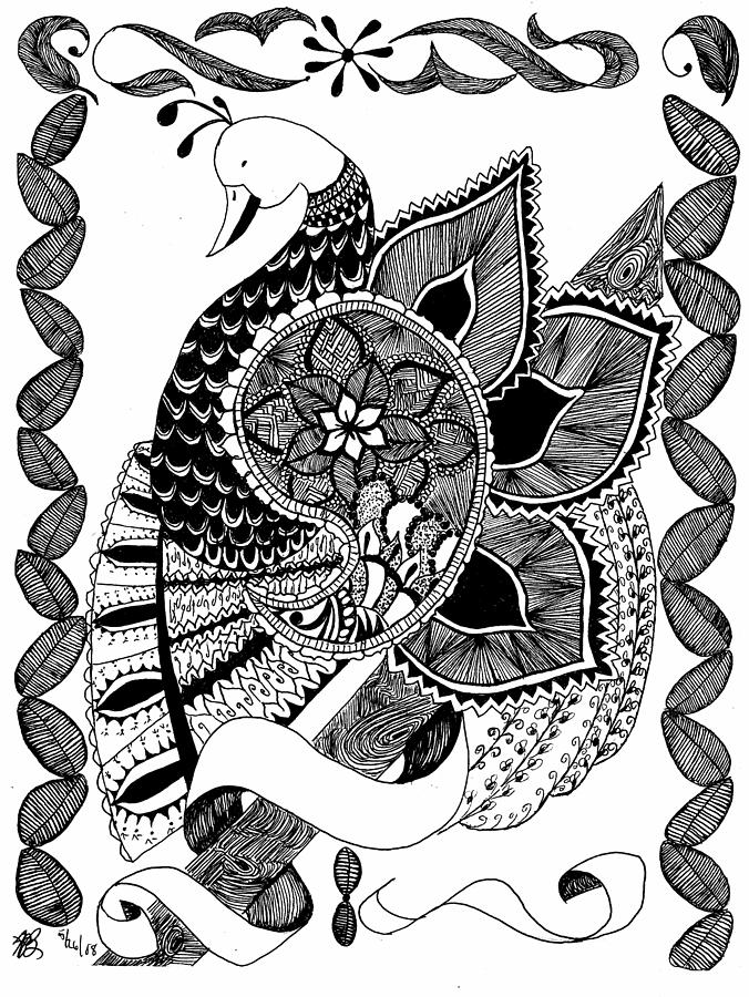 Bird Drawing - Sitting Pretty by Lenora Brown