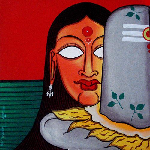 Oil Painting Painting - Siva Ganga by rajiv Lochan