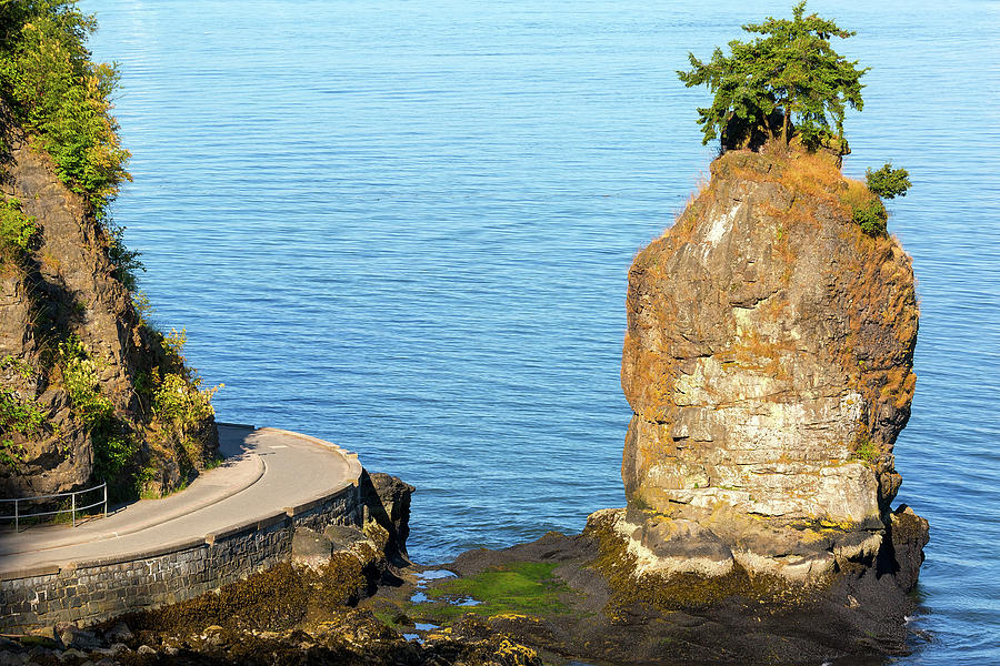 Siwash Rock Photograph - Siwash Rock by Stanley Park Seawall by David Gn