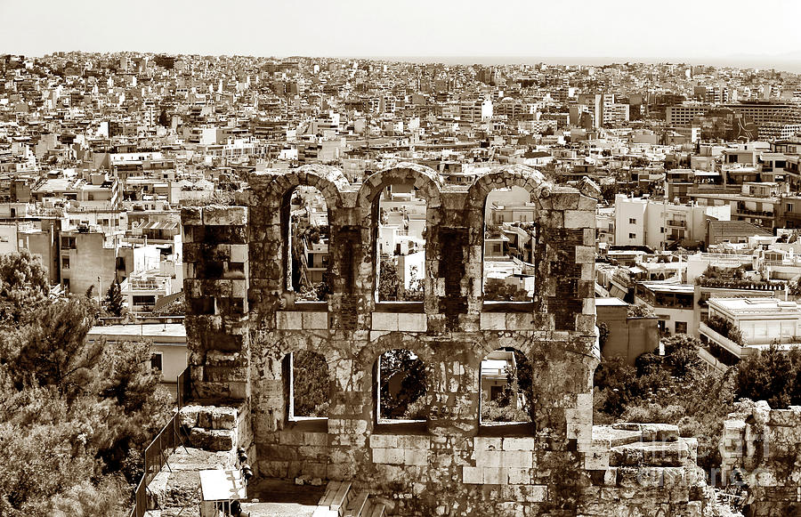 Sepia Photograph - Six Arches In Athens by John Rizzuto