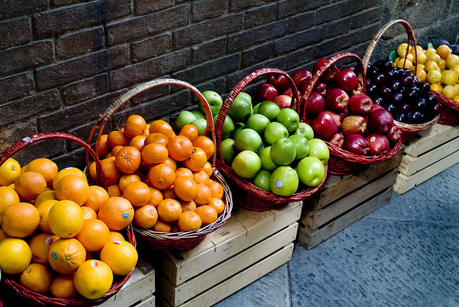 Fruit Photograph - Six Baskets Of Assorted Fresh Fruit by Todd Gipstein