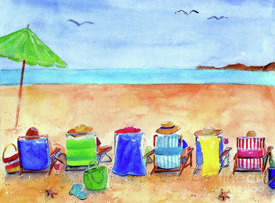 Beach Painting - Six Beach Amigos by Sheryl Heatherly Hawkins