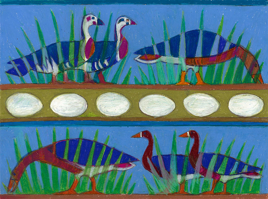 Six Painting - Six Geese-a-Layin by Denise Weaver Ross