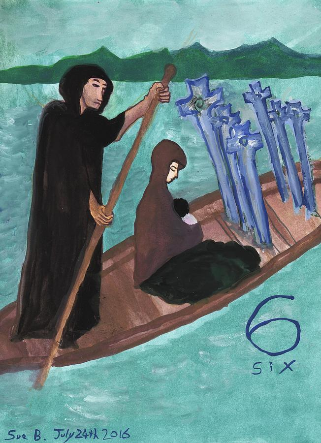 Tarot Painting - Six Of Swords Illustrated by Sushila Burgess