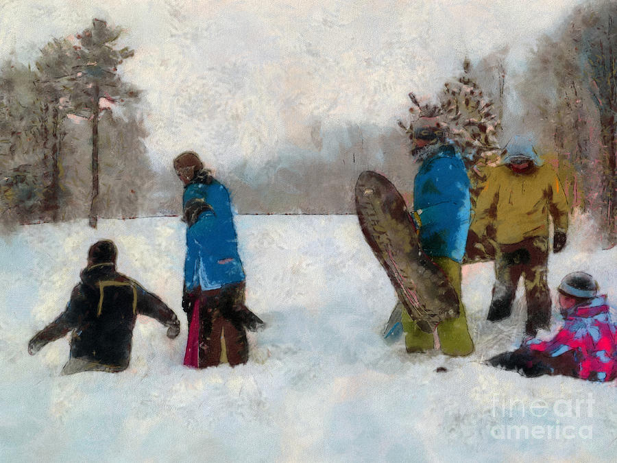 Winter Photograph - Six Sledders In The Snow by Claire Bull