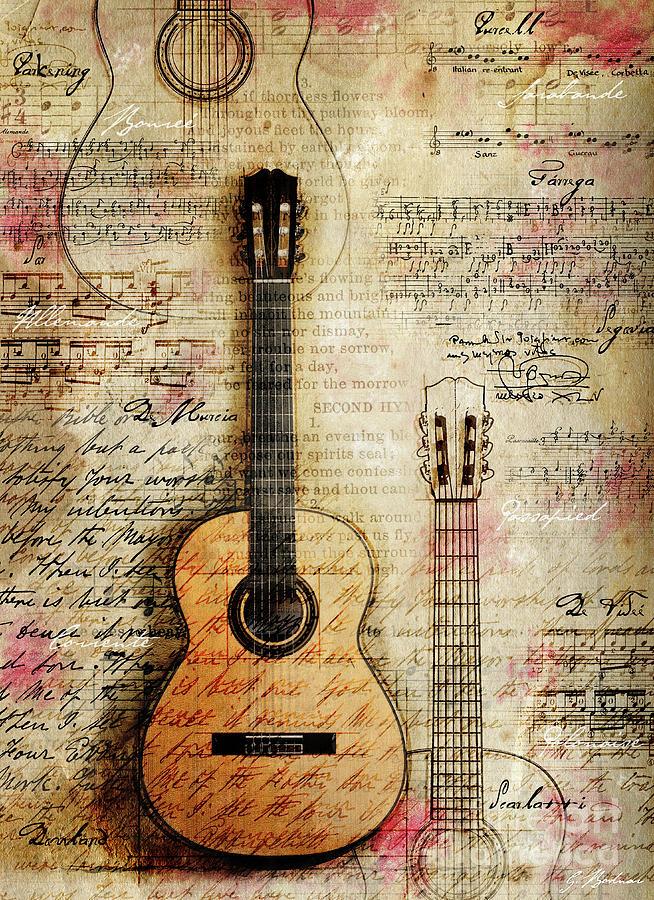 Bach Digital Art - Six String Sages by Gary Bodnar