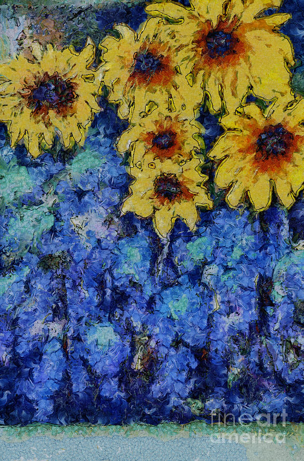 Sunflowers Photograph - Six Sunflowers On Blue by Claire Bull