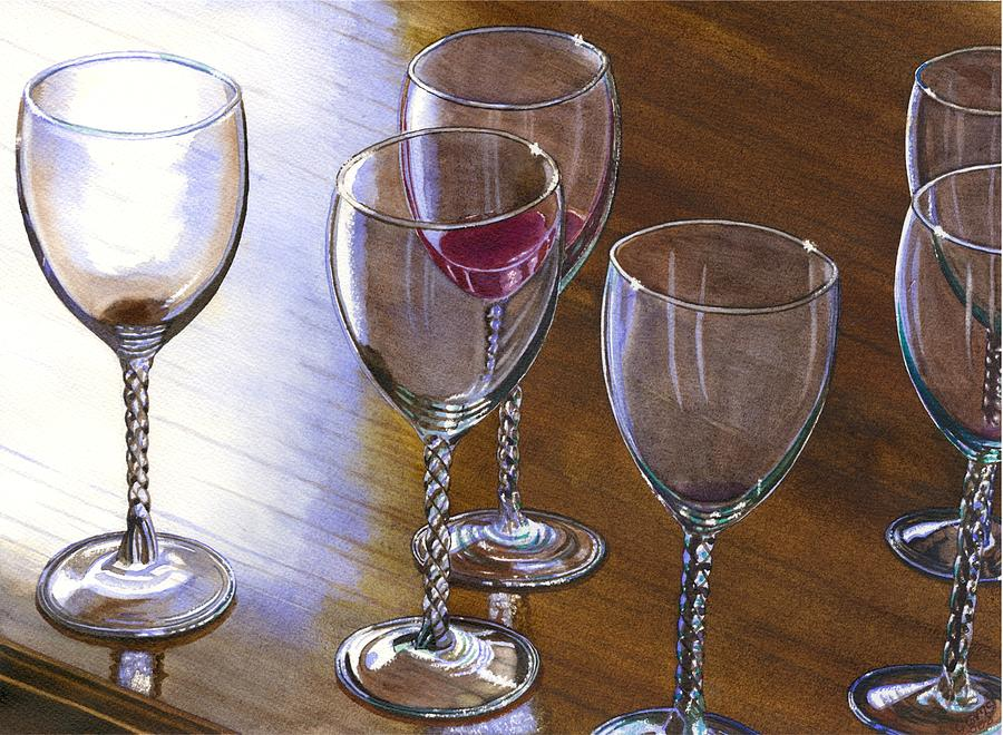 Glasses Painting - Six Wine Glasses by Catherine G McElroy