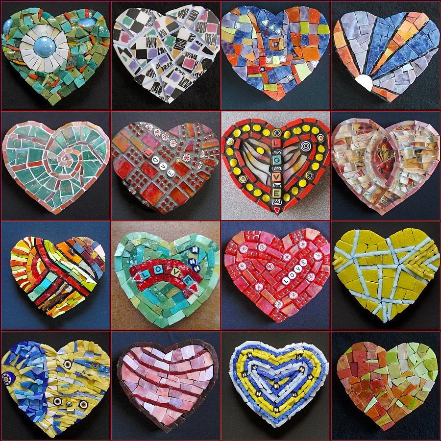 Heart Painting - Sixteen Hearts by Gila Rayberg
