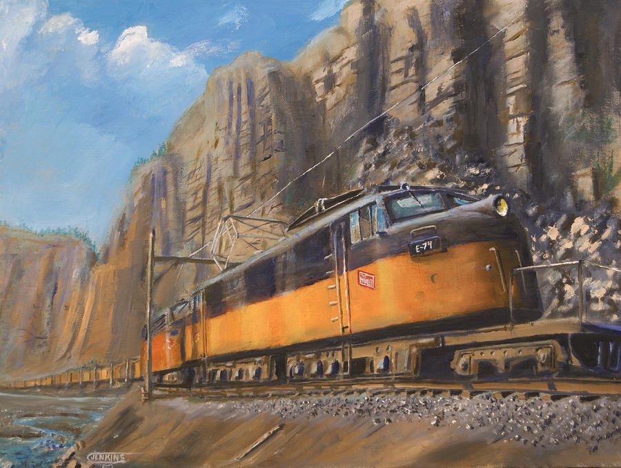 Railroad Painting - Sixteen Mile Canyon by Christopher Jenkins