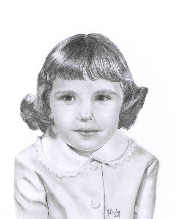 Girl Drawing - Sixties Kindergartener by Marlene Piccolin