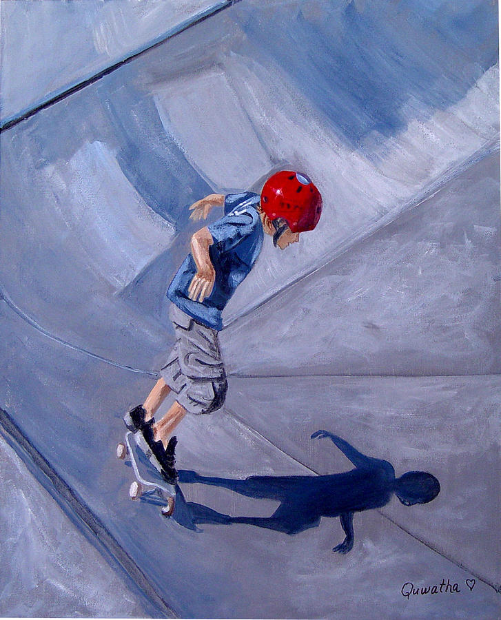 Boy Painting - Skateboarding by Quwatha Valentine