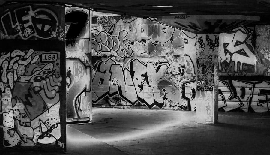 Skatepark Graffiti Southbank 3 Black And White Photograph ...