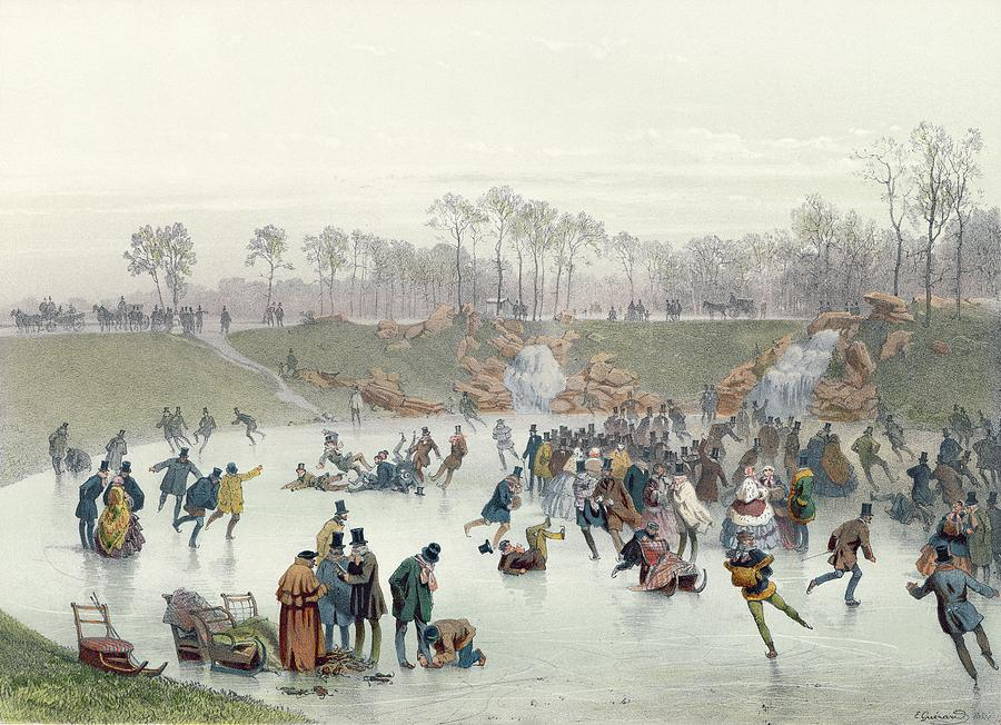 Skaters Painting - Skaters On The Lake At Bois De Boulogne by Ice Skaters on the Lake at Bois de Boulogne