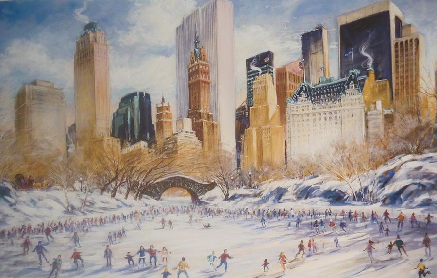 Skating In Central Park Digital Art By Kamil Kubik